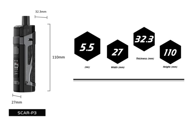 dimensions p3 smok